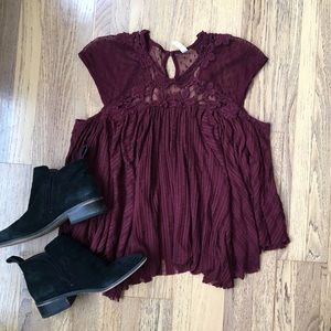 Free People Stars Align Burgundy Lace Top